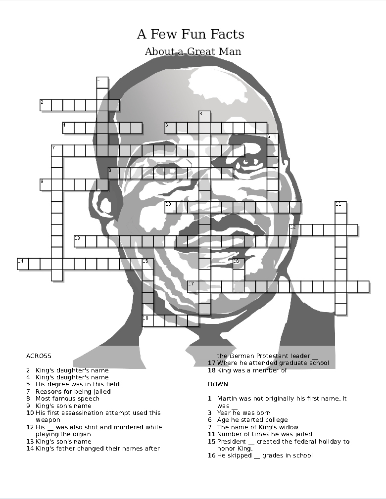 martin luther king day puzzle trivia