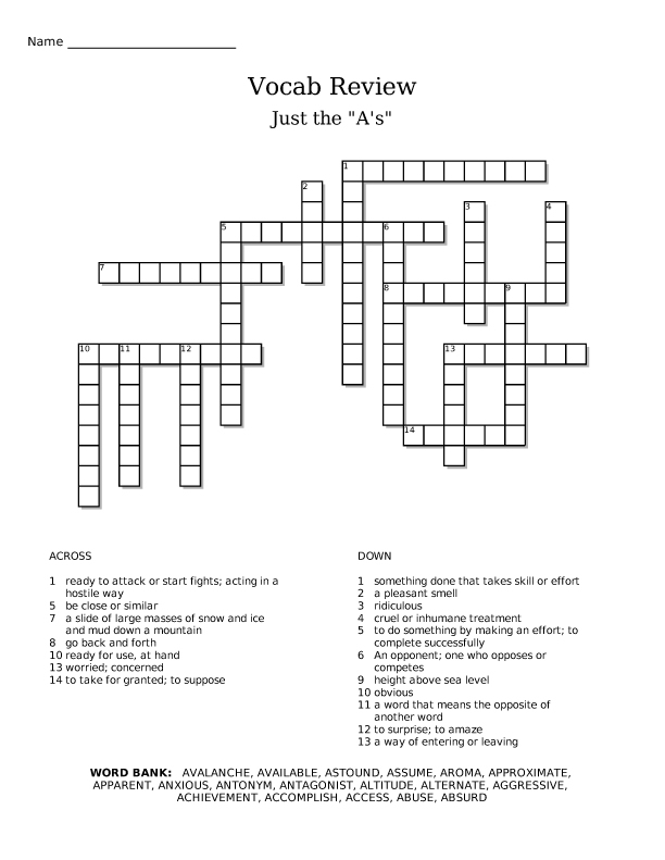 Presidents Day Crossword Puzzle