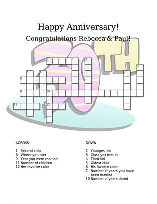 Happy Anniversary crossword puzzle