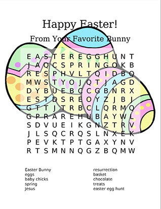 Easter word search puzzle