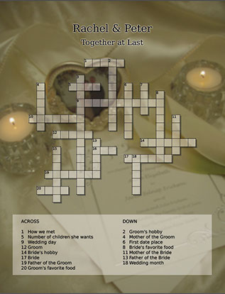 wedding reception crossword puzzle
